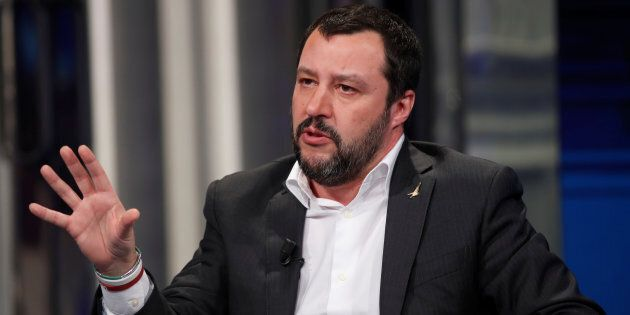Northern League leader Matteo Salvini gestures during the television talk