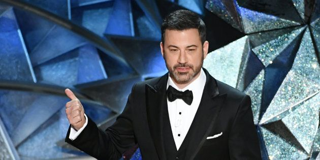 HOLLYWOOD, CA - MARCH 04: Host Jimmy Kimmel speaks onstage during the 90th Annual Academy Awards at the...