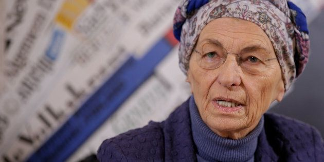 Italy's Emma Bonino, leader of the More Europe party, speaks during a news conference at the Foreign...