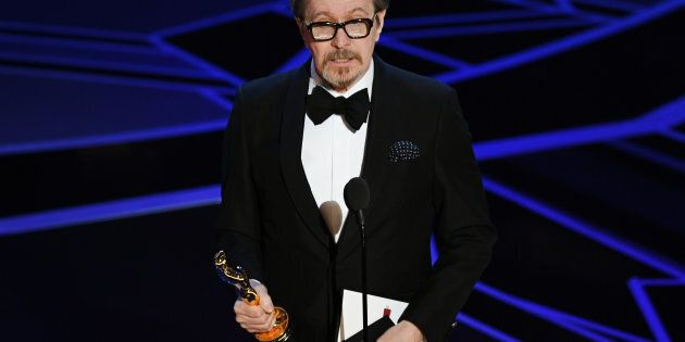 HOLLYWOOD, CA - MARCH 04: Actor Gary Oldman accepts Best Actor for 'Darkest Hour' onstage during the...