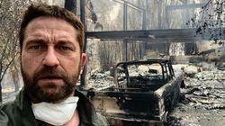 La California brucia. Gerard Butler di fronte alla sua casa distrutta: