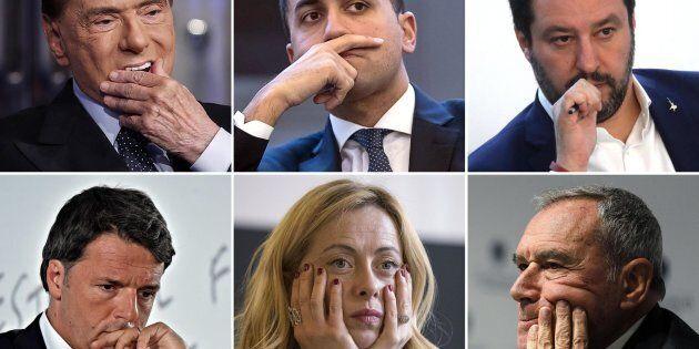 Dall'alto a sinistra Silvio Berlusconi, Luigi Di Maio, Matteo Salvini, Matteo renzi, Giorgia Meloni e...
