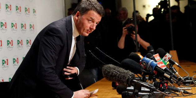 Democratic Party (PD) leader Matteo Renzi arrives for a news conference, the day after Italy's parliamentary...