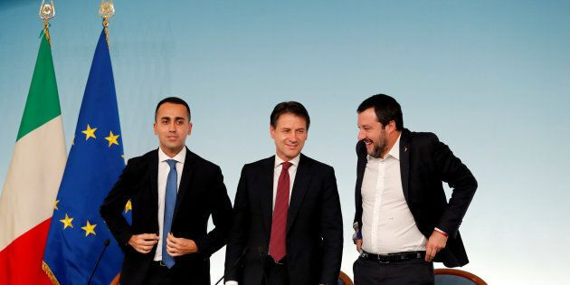 Italy's Minister of Labor and Industry Luigi Di Maio, Prime Minister Giuseppe Conte and Interior Minister...