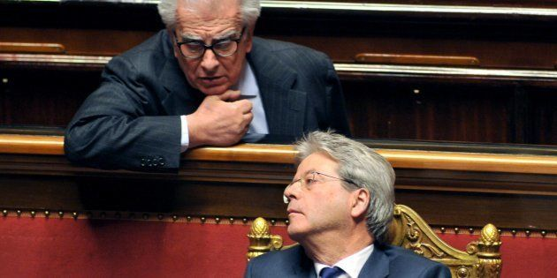 ROME, ITALY - DECEMBER 14: Paolo Gentiloni and Luigi Zanda attend the Senat Assembly To Vote The Confidence...