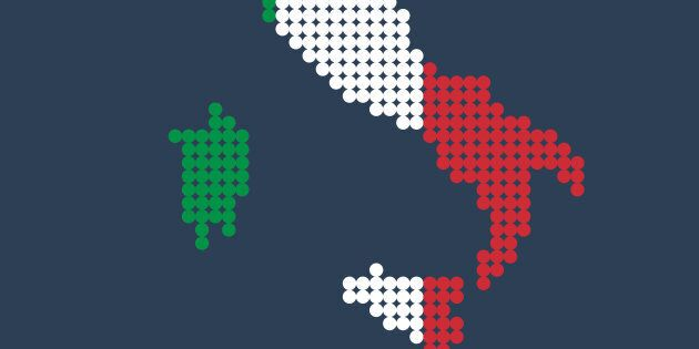 Style map of Italy in colors of Country. Vector
