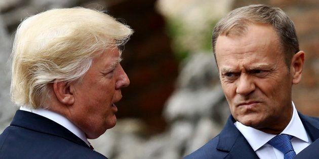 Il presidente Usa Donald Trump e il presidente del Consiglio Ue Donald