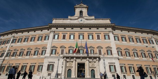 Anti-establishment 5-Star Movement (M5S) protest outside the Lower House against the government's decision...