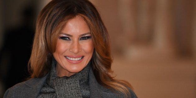 US First Lady Melania Trump arrives to take part in a spousal event at the Chateau de Versailles (Palace...