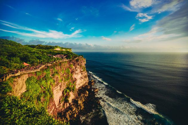 Cliff at Uluwatu Temple on Sunset in Bali,