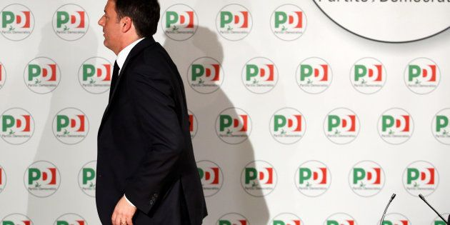 Democratic Party (PD) leader Matteo Renzi leaves at the end of a news conference, the day after Italy's...