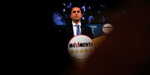 5-Star Movement leader Luigi Di Maio speaks during an electoral rally in Caserta, Italy February 23,...