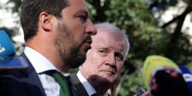 Italy's Matteo Salvini and Germany's Horst Seehofer are seen during a statement ahead of an informal...