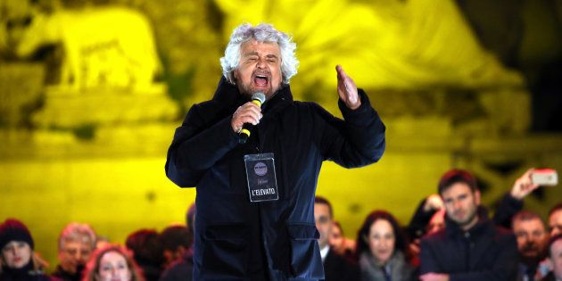 ROME, ITALY - MARCH 01: Five Star Movement's founder Beppe Grillo attends the closing electoral rally...