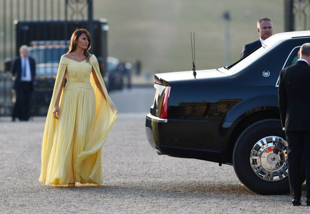 U.S. First Lady Melania Trump steps out of the presidential limousine at Blenheim Palace, where she and...