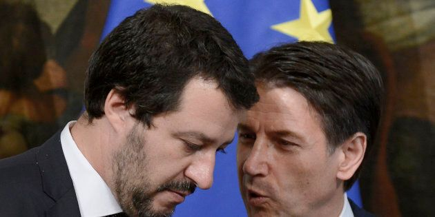 ROME, ITALY - JUNE 13: Matteo Salvini and Giuseppe Conte during the oath of the Vice Presidents and Subsecretaries...