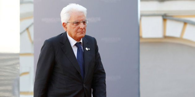 President of Italy Sergio Mattarella arrives to the Arraiolos Group meeting at Rundale Palace, Latvia,...