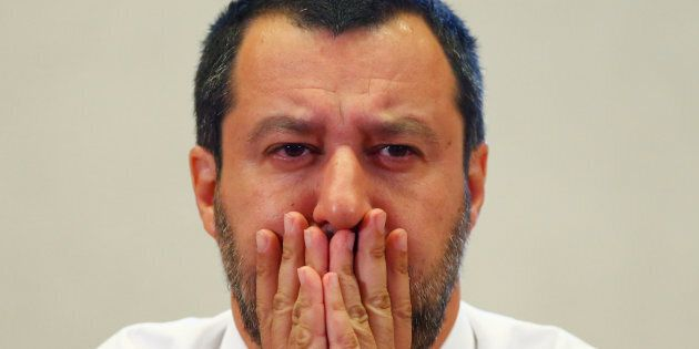 Italy's Interior Minister Matteo Salvini reacts during a news conference at the Viminale in Rome, Italy,...