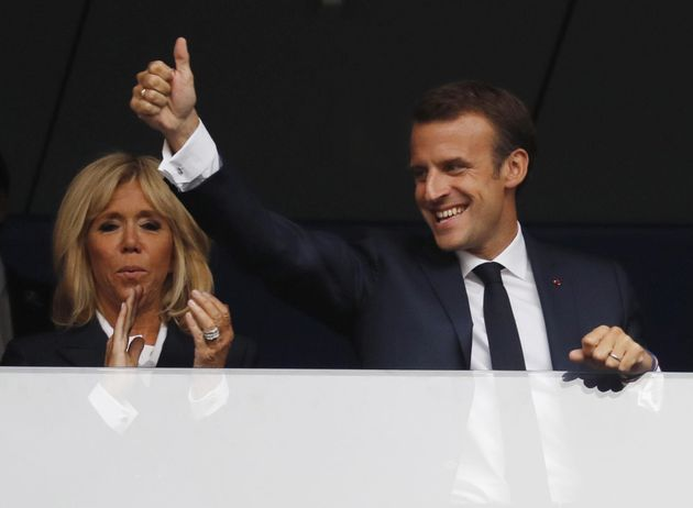 epa06890519 French president Emmanuel Macron before the FIFA World Cup 2018 final between France and...