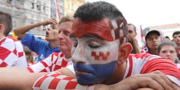 epa06891382 Supporters of the Croatian national soccer react during a public broadcast of the FIFA World...