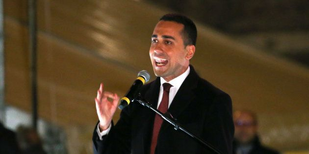 5-Star party leader Luigi Di Maio speaks during the finally rally ahead of the March 4 elections in downtown...
