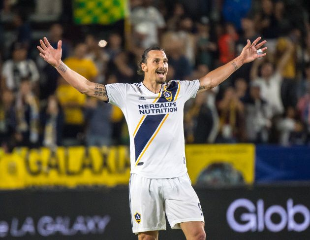 CARSON, CA - JUNE 9: Zlatan Ibrahimovic #9 of Los Angeles Galaxy celebrates his second goal of the game...