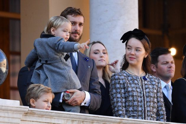 MONTE-CARLO, MONACO - NOVEMBER 19: (L-R) Sacha Casiraghi,Pierre Casiraghi with his son Stefano Casiraghi,Roisin...