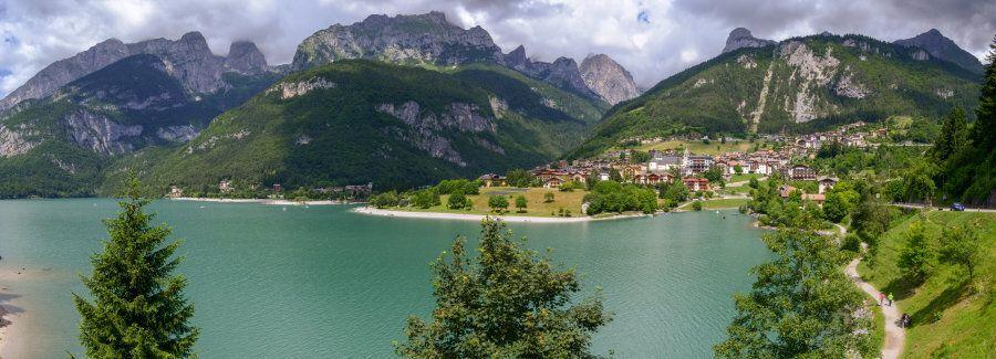 Village and lake Molveno at the foot of the Brenta Dolomites in western Trentino Alto Adige,