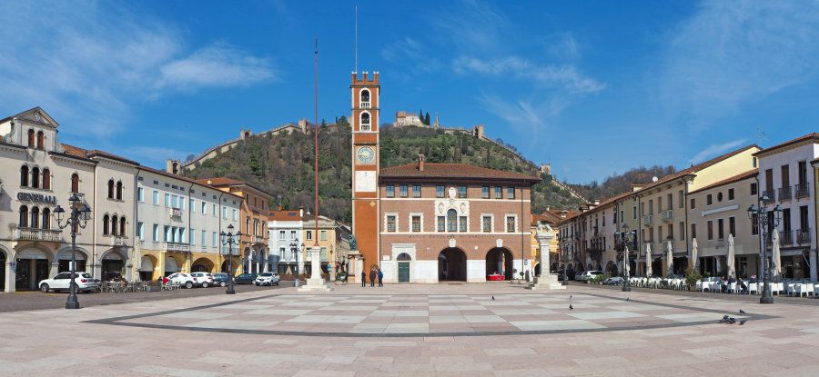 Marostica, Vicenza, Italy. The Chess Square. It is famous because there is a game of chess with living...