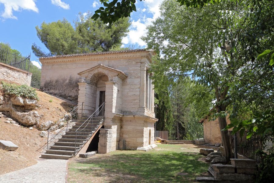 CAMPELLO SUL CLITUNNO (UMBRIA), ITALY - 29 JUNE 2017 - A town between Spoleto and Trevi in Umbria region,...