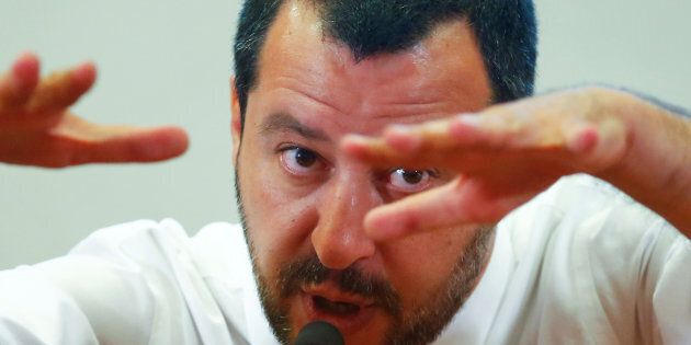 Italy's Interior Minister Matteo Salvini gestures as he speaks during a news conference at the Viminale...