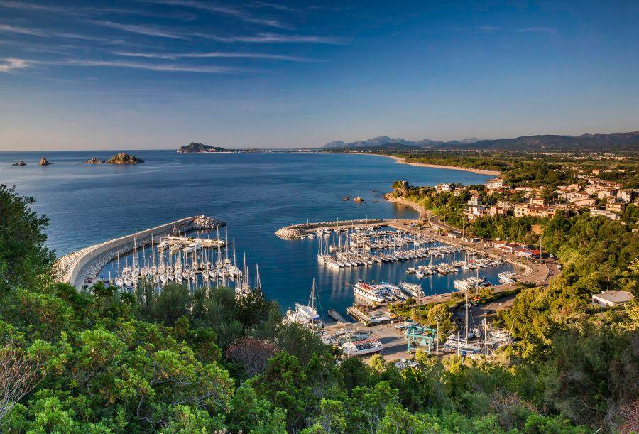 Marina at Santa Maria Navarrese resort town at Costa di Levante, Tyrrhenian Sea coast, Ogliastra region,...
