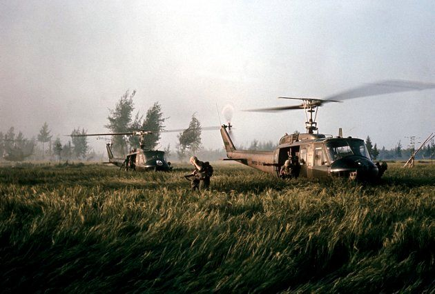 US helicopters that brought Company C soldiers to Mylai for assualt. (Photo by Ronald S. Haeberle/The...