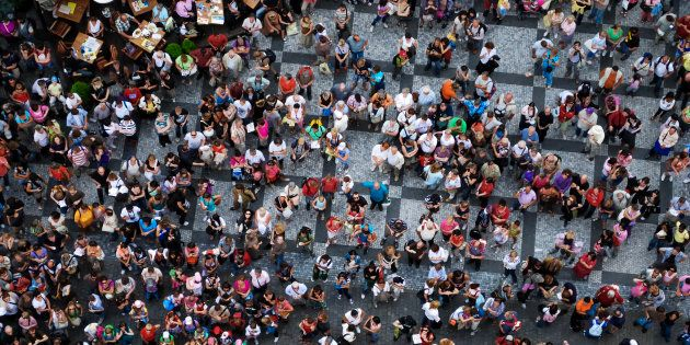 Aerial photograph of people visiting the Old Town Square in