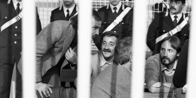 1982 Roma. Processo Aldo Moro. Nella foto i brigatisti indagati per il sequestro Moro. Prospero Gallinari...