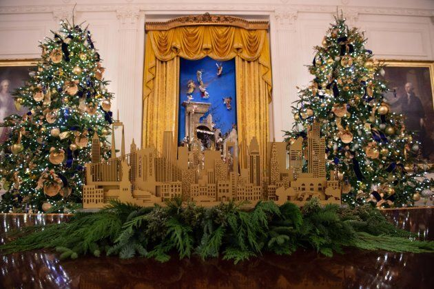 Christmas decorations are seen at the White House during a preview of the 2018 holiday decor in Washington,...