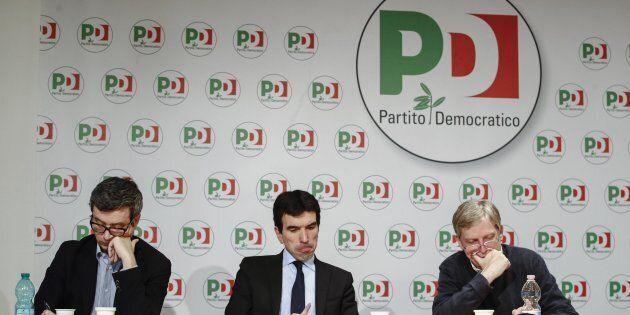 Andrea Orlando (s), Maurizio Martina e Gianni Cuperlo durante il seminario ''Adesso ricostruire. Il Pd...
