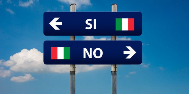 two road signs and italian referendum SI (yes) or NO