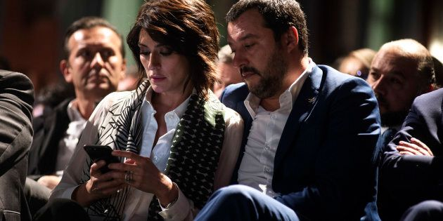 ROME, ITALY - OCTOBER 24: Matteo Salvini(R) and Elisa Isoardi (L) take part at the book presentation...