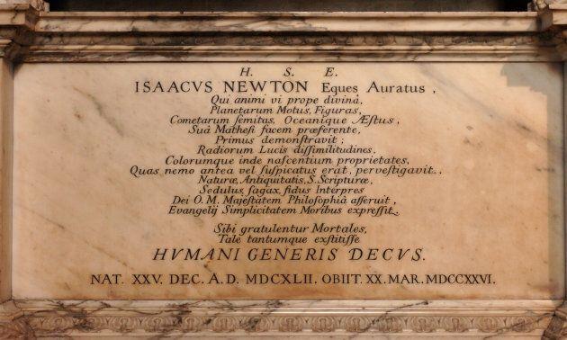 La tomba di Isaac Newton, nell'abbazia di