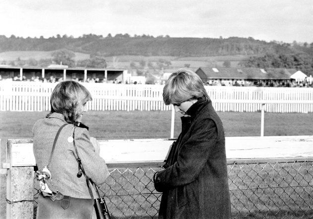Camilla Parker-Bowles (left) and Lady Diana Spencer (later the Princess of Wales) at Ludlow racecourse...
