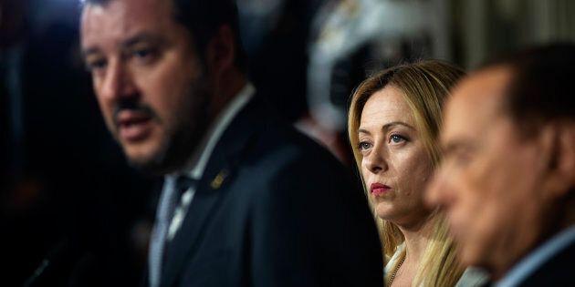 ROME, ITALY - MAY 07: Giorgia Meloni(2R), leader of Fratelli d'Italia, Matteo Salvini(L), Leader of Lega...