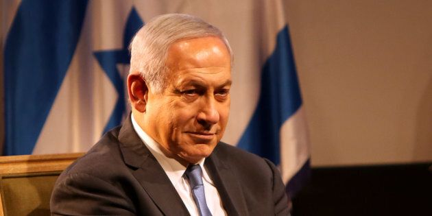 Israeli Prime Minister Benjamin Netanyahu is seen during the dedication of Czech House in Jerusalem on...
