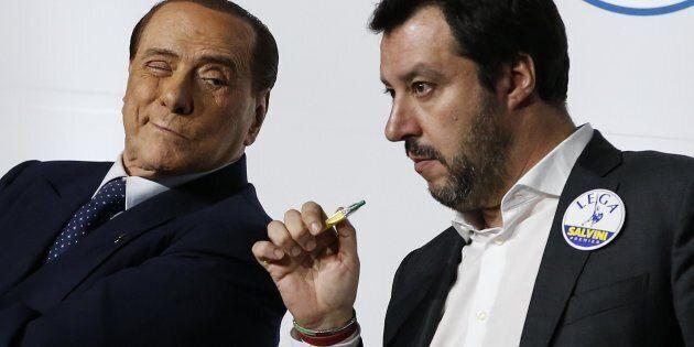 Giogrgia Meloni (FdL), Silvio Berlusconi (Forza Italia), e Matteo Salvini (Lega) in occasione dell'appello...