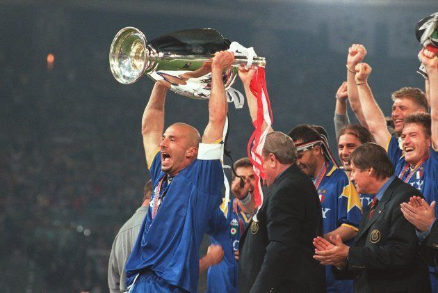 Gianluca Vialli lifts the European Cup trophy for