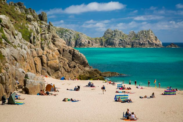 Porthcurno beach and bay enclosed by the Logan Rock headland has been listed among the ten most beautiful...