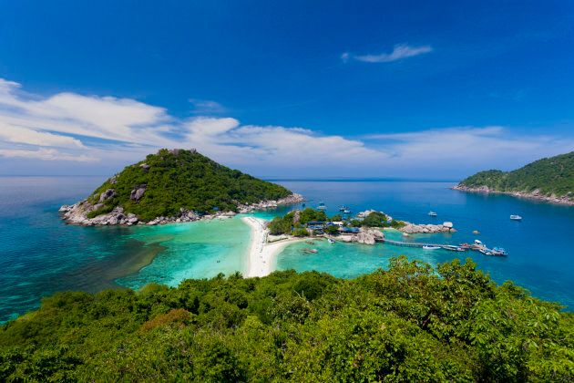 Panoramic view of Nang Yuan Island at Koh Tao,