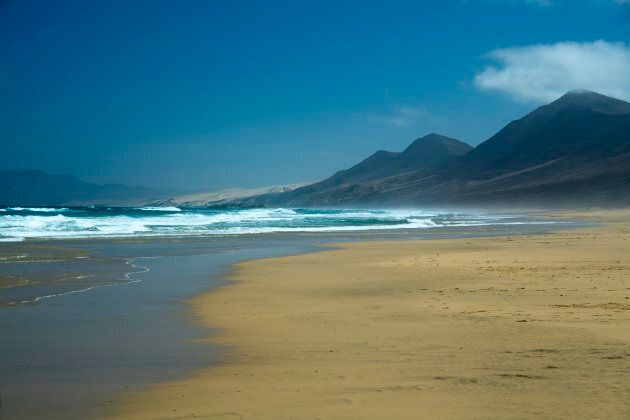 Sandy beach, Playa de Cofete, Fuerteventura, Canary Islands, Spain,