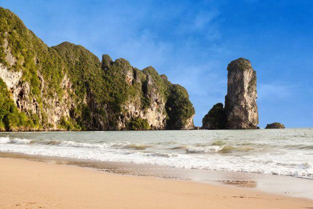 Famous Pai Plong beach in Krabi Province,