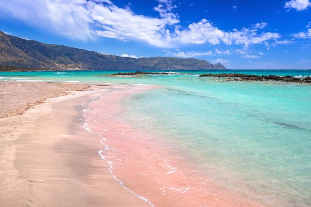 Elafonissi beach with pink sand on Crete,
